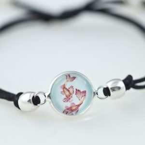 chica manga Bracelet slide knot Koi black cord with round beads