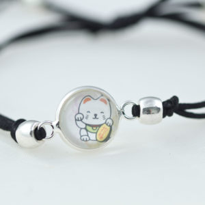 chica manga Bracelet slide knot Maneki Neko black cord with round beads