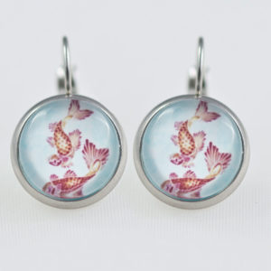 Earrings dangle stainless steel Koi fish