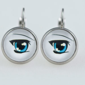 Earrings dangle stainless steel Manga blue eyes
