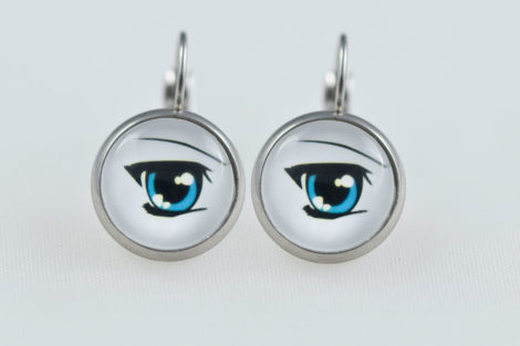 Earrings dangle stainless steel Manga blue eyes