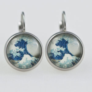 Earrings dangle stainless steel big Wave