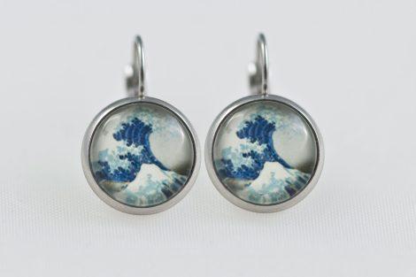 Earrings dangle stainless steel big Wave