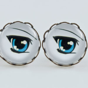 Earrings stud waves Antique Bronze Manga blue eye