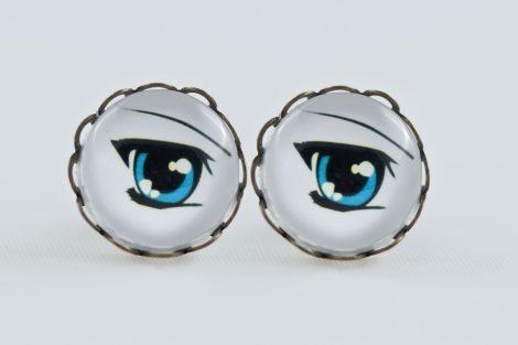 Earrings stud waves Antique Bronze Manga blue eye