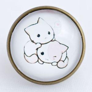 chica manga kawaii kittens pin
