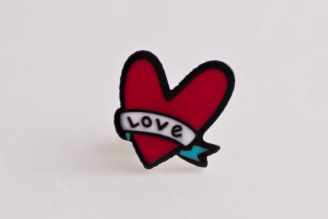 chica manga say i love you butterfly clasp pin
