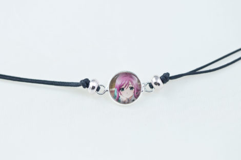 Chica Manga Bracelet slide knot Moka dark grey cord with round beads