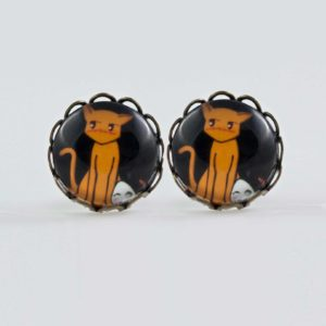 Chica- anga Fruits Basket Earrings stud waves Antique bronze Tohru & Kyo