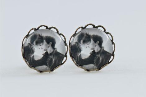 chica manga Earrings stud waves Antique bronze Kiss