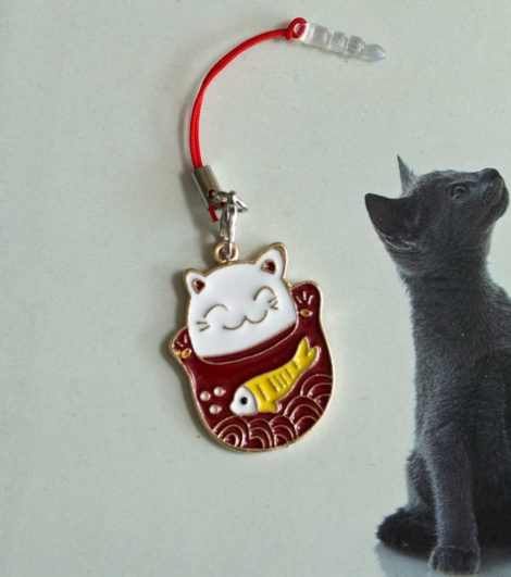 Chica Manga Mobile charm strap lucky cat maneki neko and fish