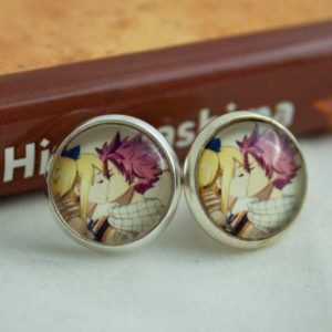 Chica Manga Fairy Tail Natsu and Lucy Kiss stud earrings