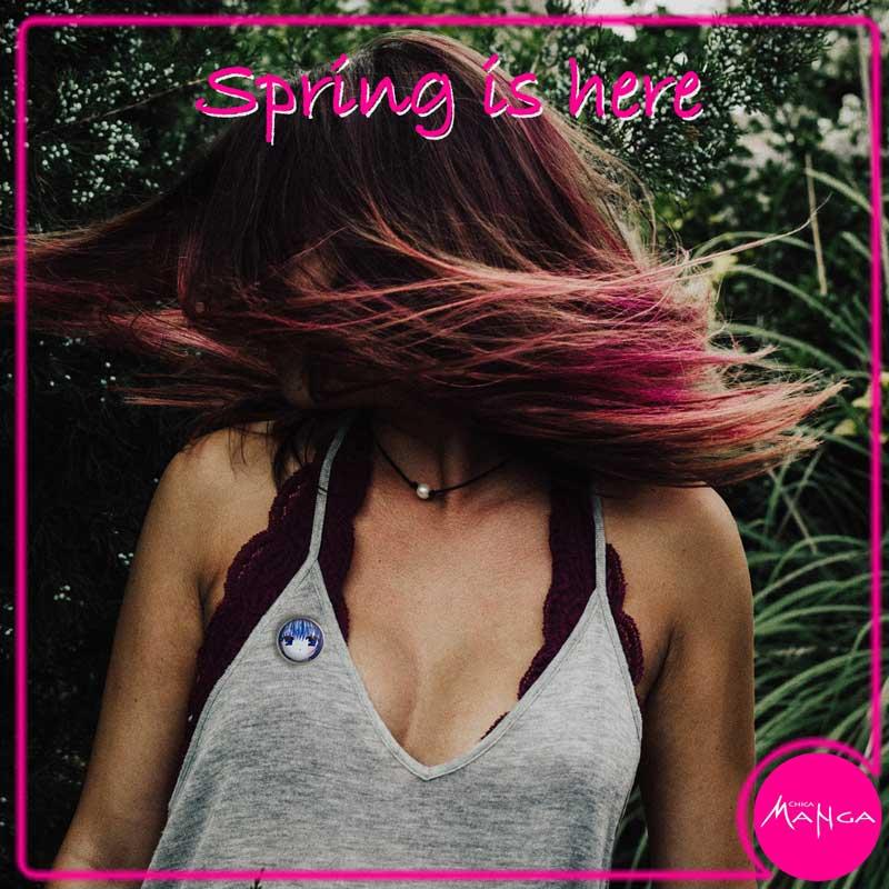 Spring blue hair girl pin