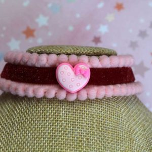 ChicaManga Lolita Red Velvet Choker with pink pompoms strip an resin macaron heart