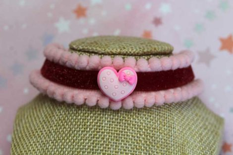 ChicaMang Lolita Red Velvet Choker with pink pompoms stripe and resin macaron