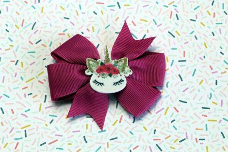 ChicaManga Pinwheel Ribbon Bows Clips Hairpin with resin unicorn Magenta Pink