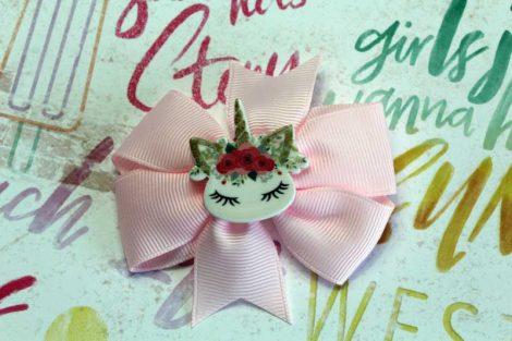ChicaManga Pinwheel Ribbon Bows Clips Hairpin with resin unicorn baby pink