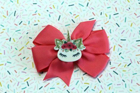 ChicaManga Pinwheel Ribbon Bows Clips Hairpin with resin unicorn dark pink