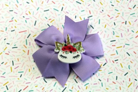 ChicaManga Pinwheel Ribbon Bows Clips Hairpin with resin unicorn lavander