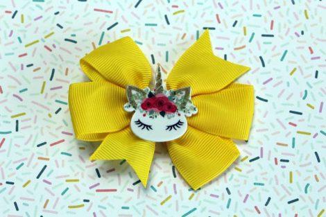 ChicaManga Pinwheel Ribbon Bows Clips Hairpin with resin unicorn yellow