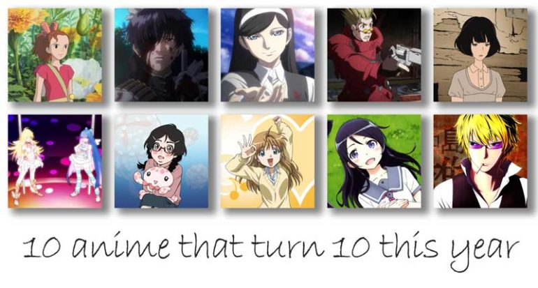 10 anime that turn 10 this year