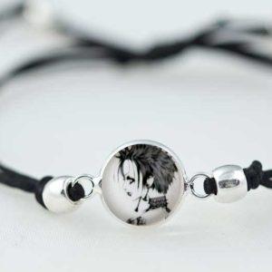 Bracelet slide knot Nana black cord with round beads