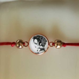 Bracelet slide knot Nana red cord with round rose gold beads